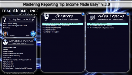 Buy Reporting Tip Income Training at TeachUcomp, Inc.: A picture of the