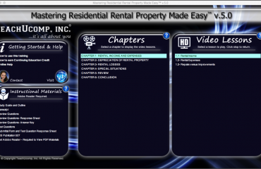 Buy Residential Rental Property Training at TeachUcomp, Inc.: A picture of the training interface for
