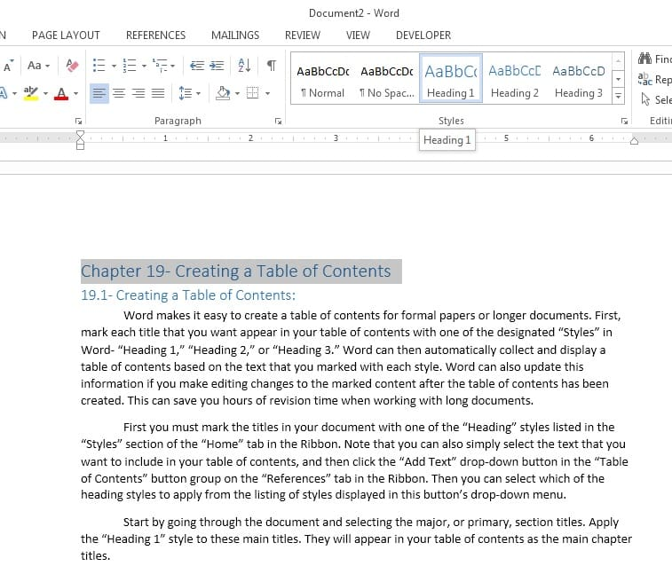 How To Create A Table Of Contents In Word 2013 Teachucomp Inc