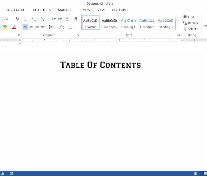 ms word 2013 table of contents