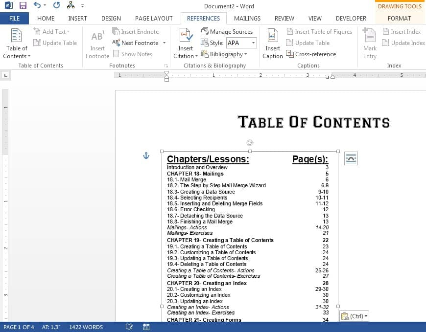 Microsoft office table of contents for Table of contents