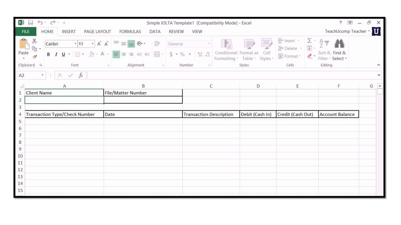 How to use iolta management for lawyers in microsoft excel for Real estate trust account ledger template