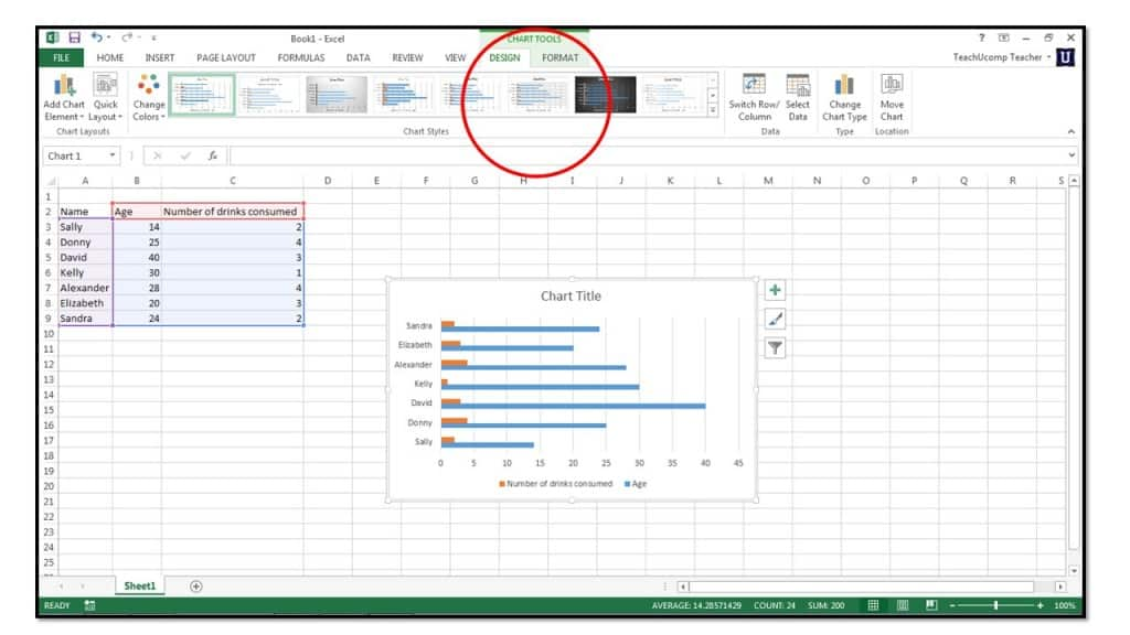 How to insert charts into an excel spreadsheet in excel 2013 for Table design tab excel