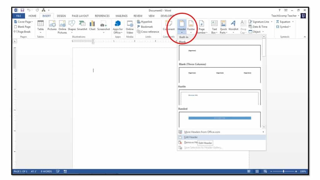 How to insert page numbers into headers or footers in word 2013 or you can pick a specific type of header or footer to insert ccuart Gallery