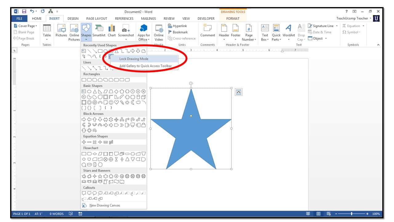 How to insert shapes into microsoft word 2013 microsoft ccuart