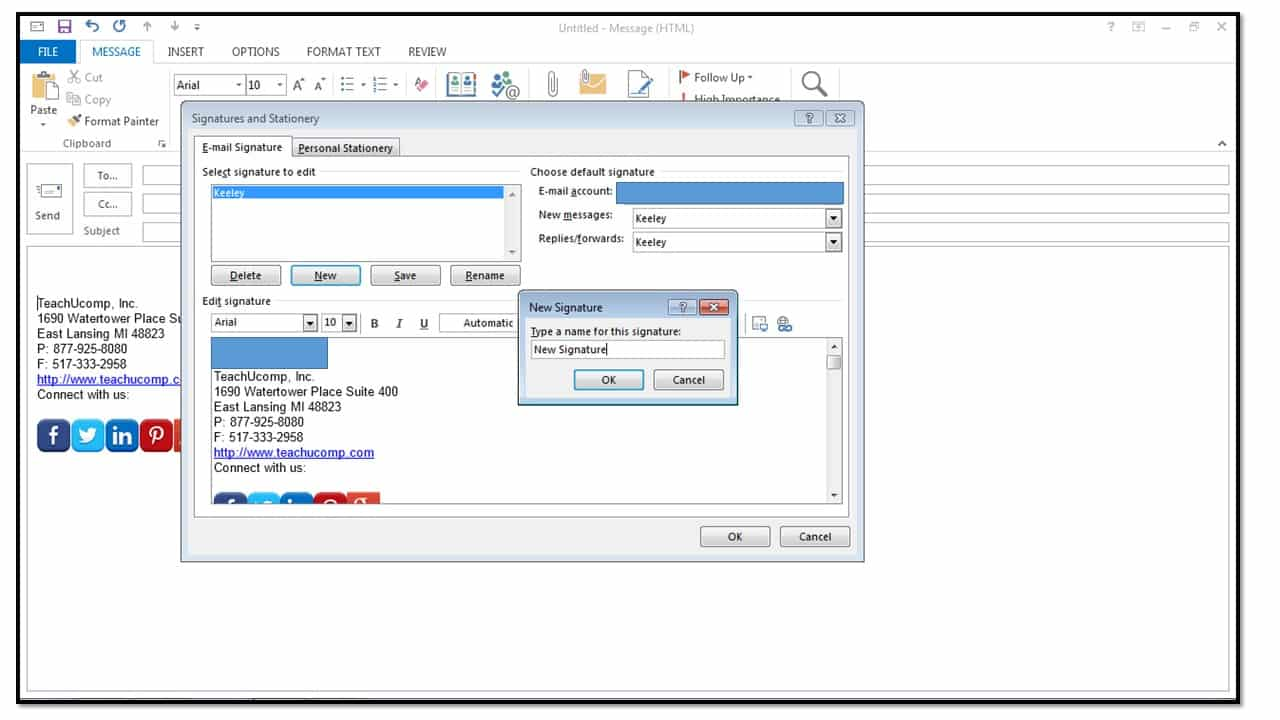 How to Add Custom Signatures in Outlook 2013 - TeachUcomp, Inc.