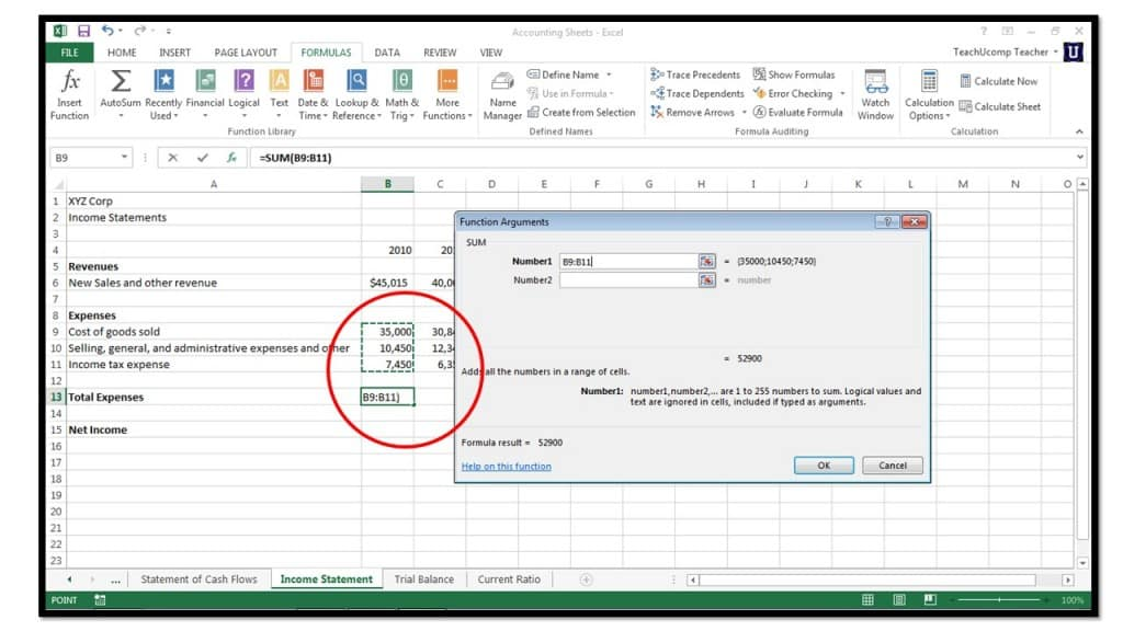 How to Insert Functions in Microsoft Excel 2013