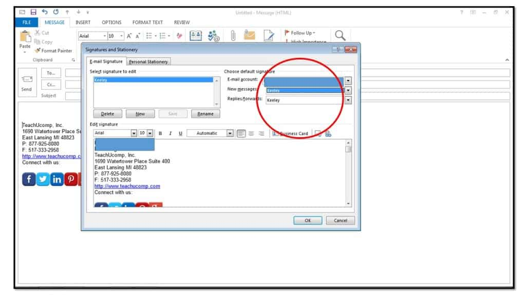 how to set default signature in outlook 2003 htmp