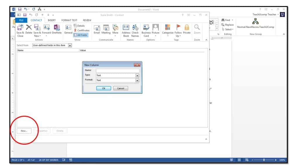 how to create a vcard in outlook 2013