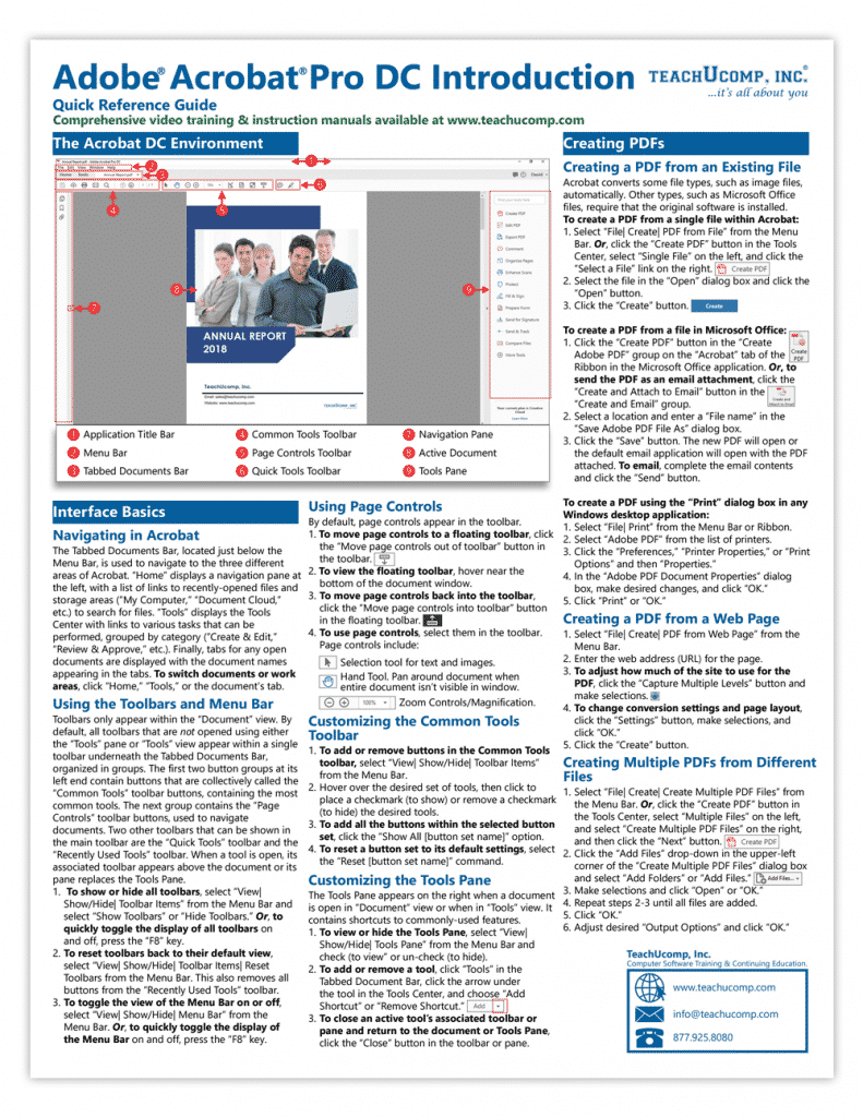 Buy Acrobat Pro DC Quick Reference Cards: A picture of the first page of the Acrobat Pro DC Quick Reference Card.