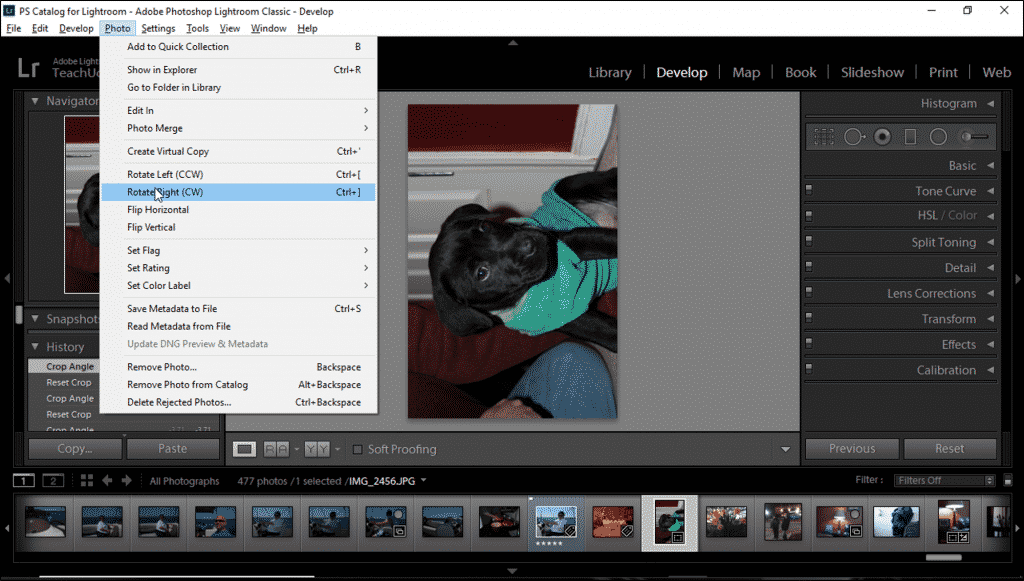 Rotate a Photo in Lightroom Classic CC- Instructions