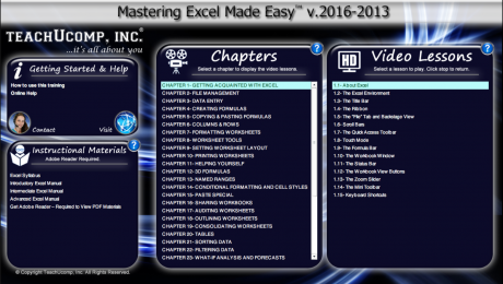 "Buy Excel 2016 Training: A picture of TeachUcomp, Inc.'s ""Mastering Excel Made Easy v.2016-2013"" training interface for digital downloads and DVDs."