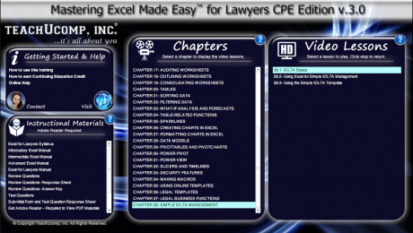 Buy Excel 2016 Training for Lawyers: A picture of the DVD and digital download training interface for the