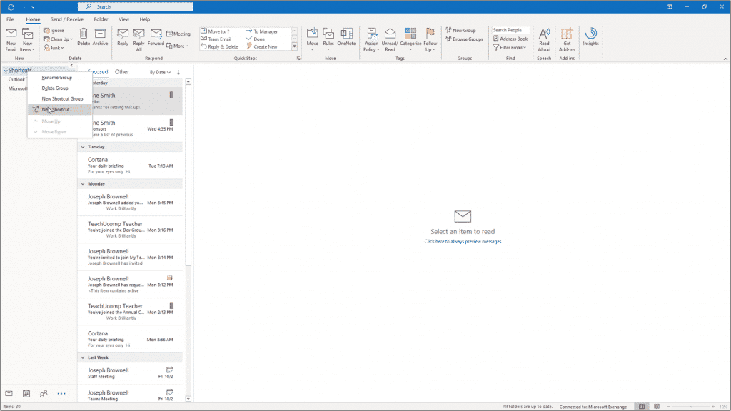 Create Folder Shortcuts in Outlook - Instructions: A picture of a user adding a folder shortcut to the Navigation Bar in Outlook.