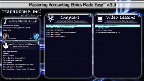 Buy Accounting Ethics Training at TeachUcomp, Inc.: A picture of the training interface for