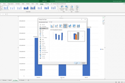 Change the Chart Type in Excel - Instructions: A picture of a user changing the chart type of a selected chart in Excel.
