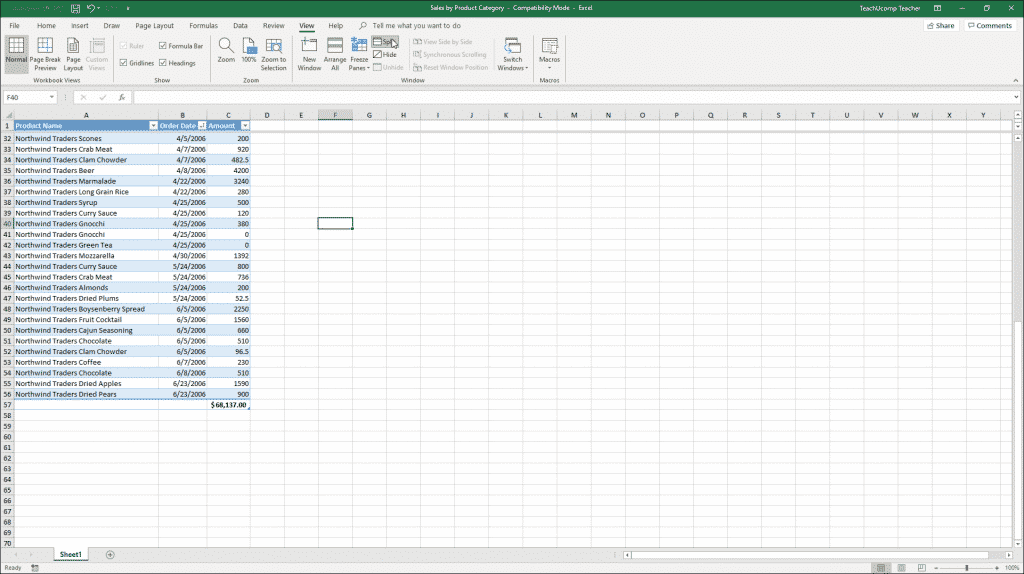 Split Panes in Excel - Instructions and Video Lesson: A picture of a large Excel workbook that is horizontally split into two separate panes.