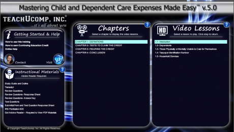 Buy Child and Dependent Care Expenses Training at TeachUcomp, Inc.: A picture of the