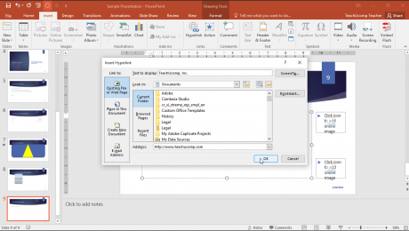"Add Hyperlinks in PowerPoint – Tutorial: A picture of the ""Insert Hyperlink"" dialog box in PowerPoint."