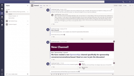 @Mentions in Microsoft Teams: A picture showing someone selecting a suggested @mention in a post in Microsoft Teams.