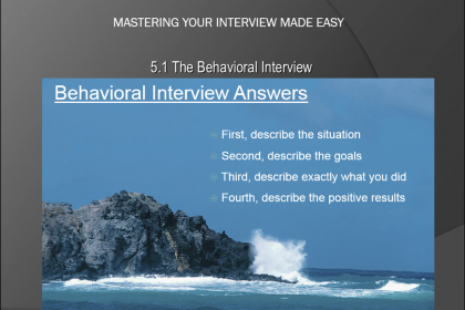 The Behavioral Interview - Tutorial: A picture of the four points one should make when responding to a question in a behavioral interview.