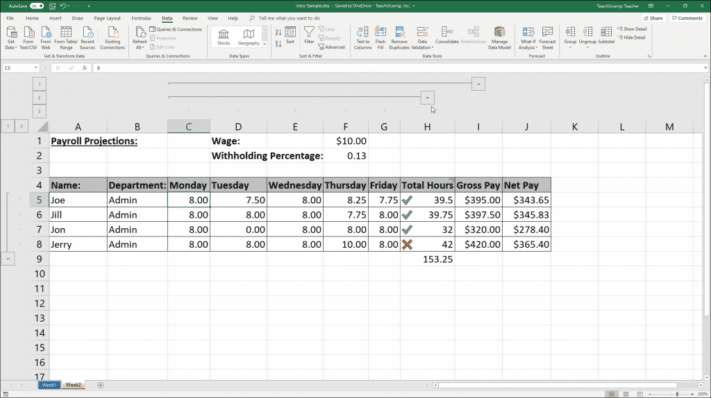 Outline Excel Data in Microsoft Excel - Instructions: A picture of an Excel worksheet with an outline applied.