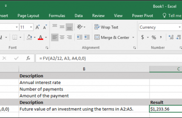 The Fv Function- Excel for Lawyers Tutorial: A picture of the Fv function being used in Excel 2016.