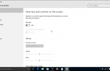 Narrator Settings in Windows 10: A picture of the Narrator settings in Windows 10.