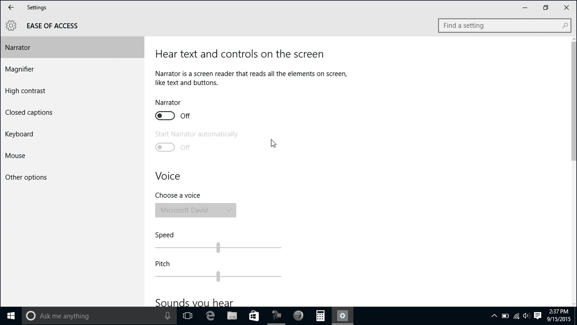 Narrator Settings in Windows 10 - Instructions - TeachUcomp