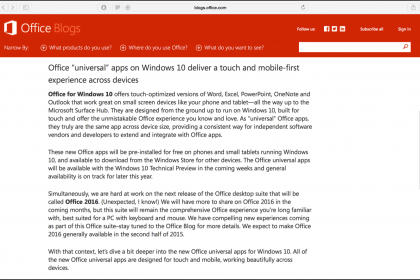 Microsoft Office 2016 Is Arriving Late 2015: A picture of the blog post at the Office Blogs site that announced that Microsoft Office is arriving late 2015.