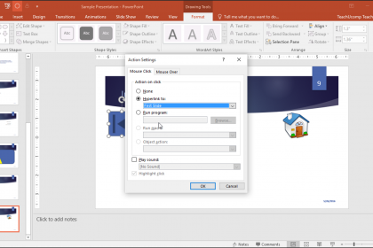 Action Buttons in PowerPoint- Tutorial: A picture of a user programming an action button in PowerPoint.