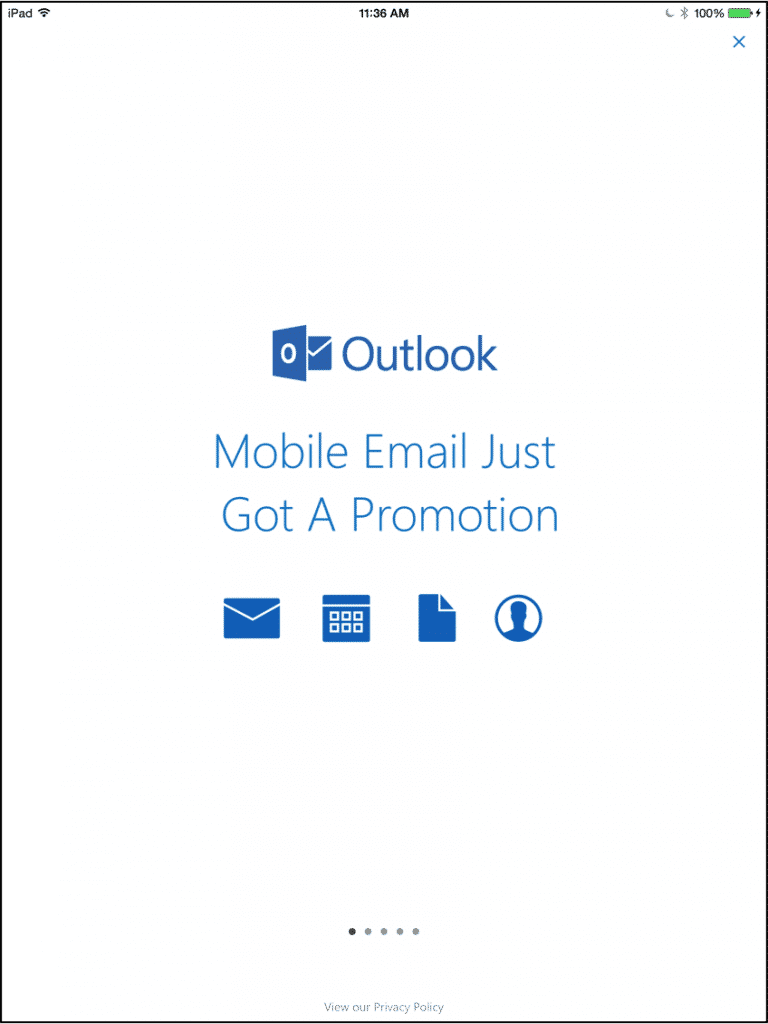 New Outlook App for iOS and Android Released: A picture of the initial screen shown after launching the new Outlook app for iOS.
