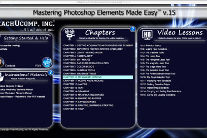 Buy Photoshop Elements 15 Training: A picture of the Mastering Photoshop Elements Made Easy v.15 training interface.