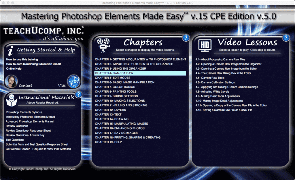 Buy Photoshop Elements 15 Training: A picture of the Mastering Photoshop Elements Made Easy v.15- CPE Edition v.5.0 training interface.