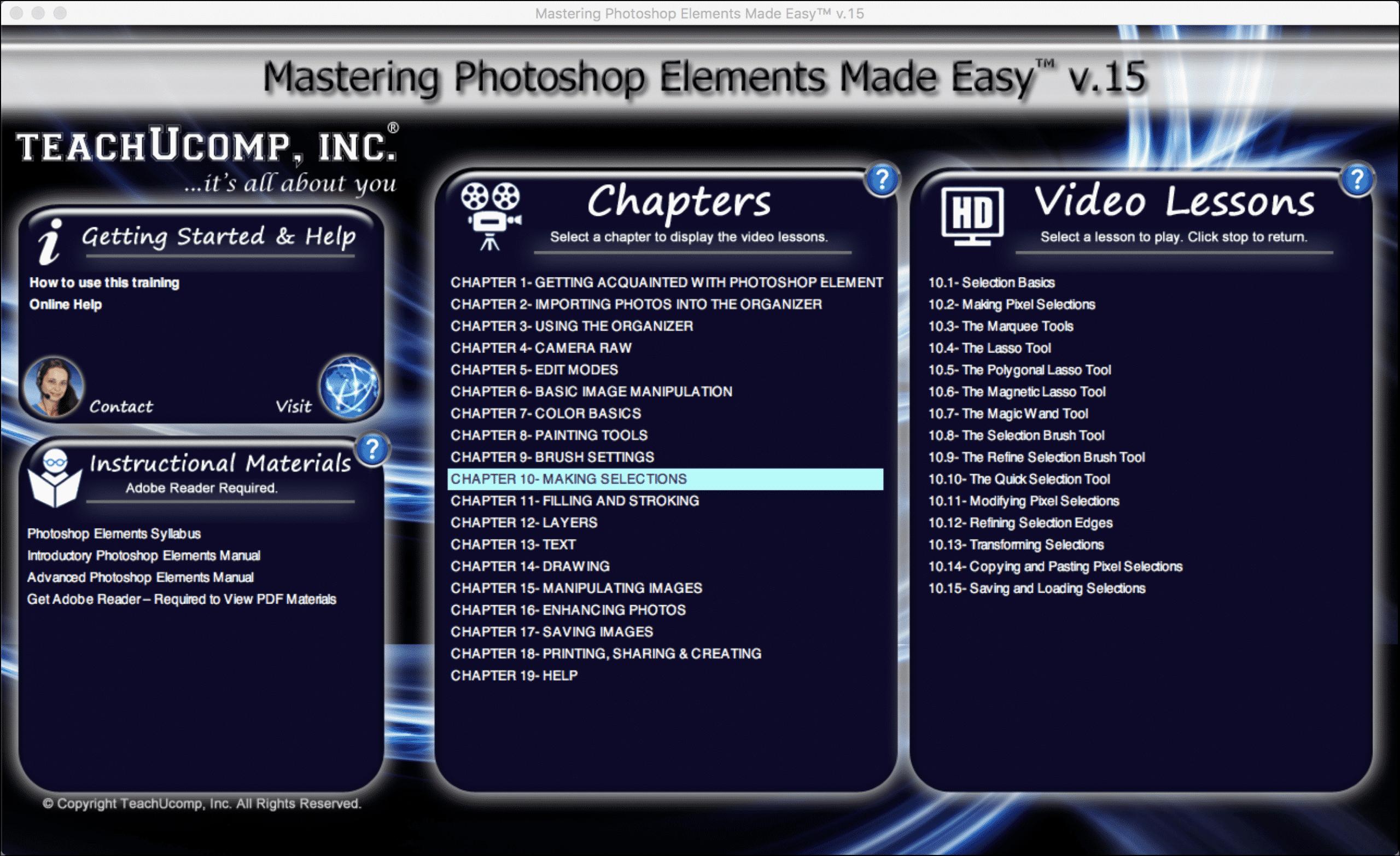 Buy photoshop elements 15 training teachucomp inc buy photoshop elements 15 training a picture of the mastering photoshop elements made easy v baditri Choice Image
