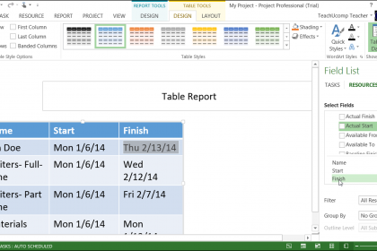 Report Tables in Project 2013 – Tutorial: A picture of a report table and its associated Field List pane in Microsoft Project 2013.