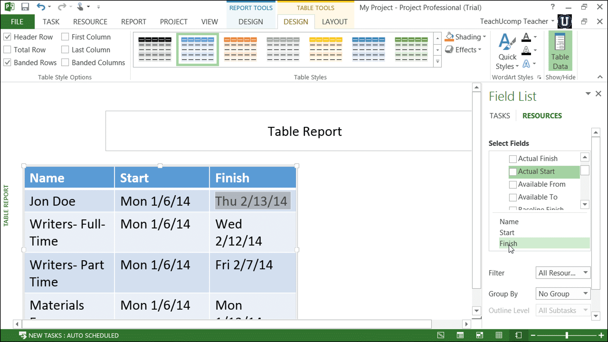 Report Tables In Project 2013 Tutorial Teachucomp Inc