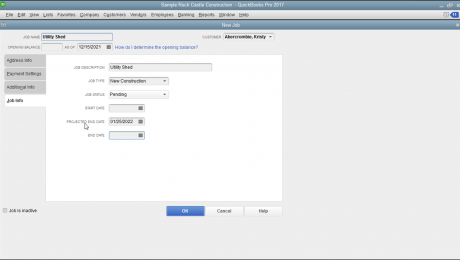 "Create a Job in QuickBooks - Tutorial: A picture of the ""New Job"" window in QuickBooks Pro."