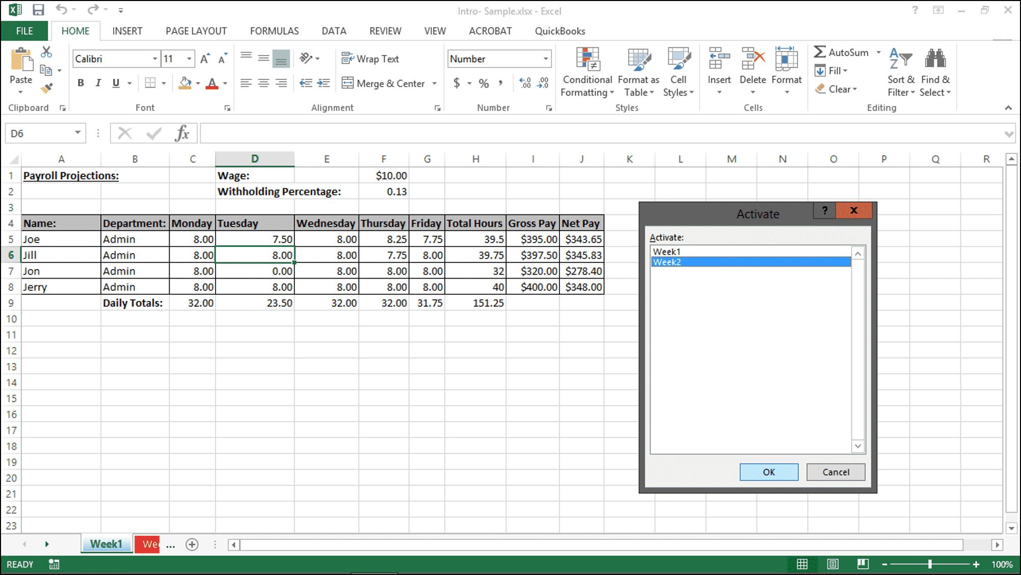 Navigating Worksheets in Excel 2013- Tutorial