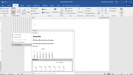 Quick Tables in Word- Tutorial: A picture of a user inserting a Quick Table in Microsoft Word.