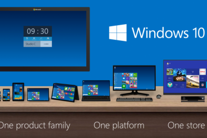 Windows 10 Technical Preview: A picture of the Windows 10 technical preview shown on multiple displays. Copyright Microsoft, Inc.