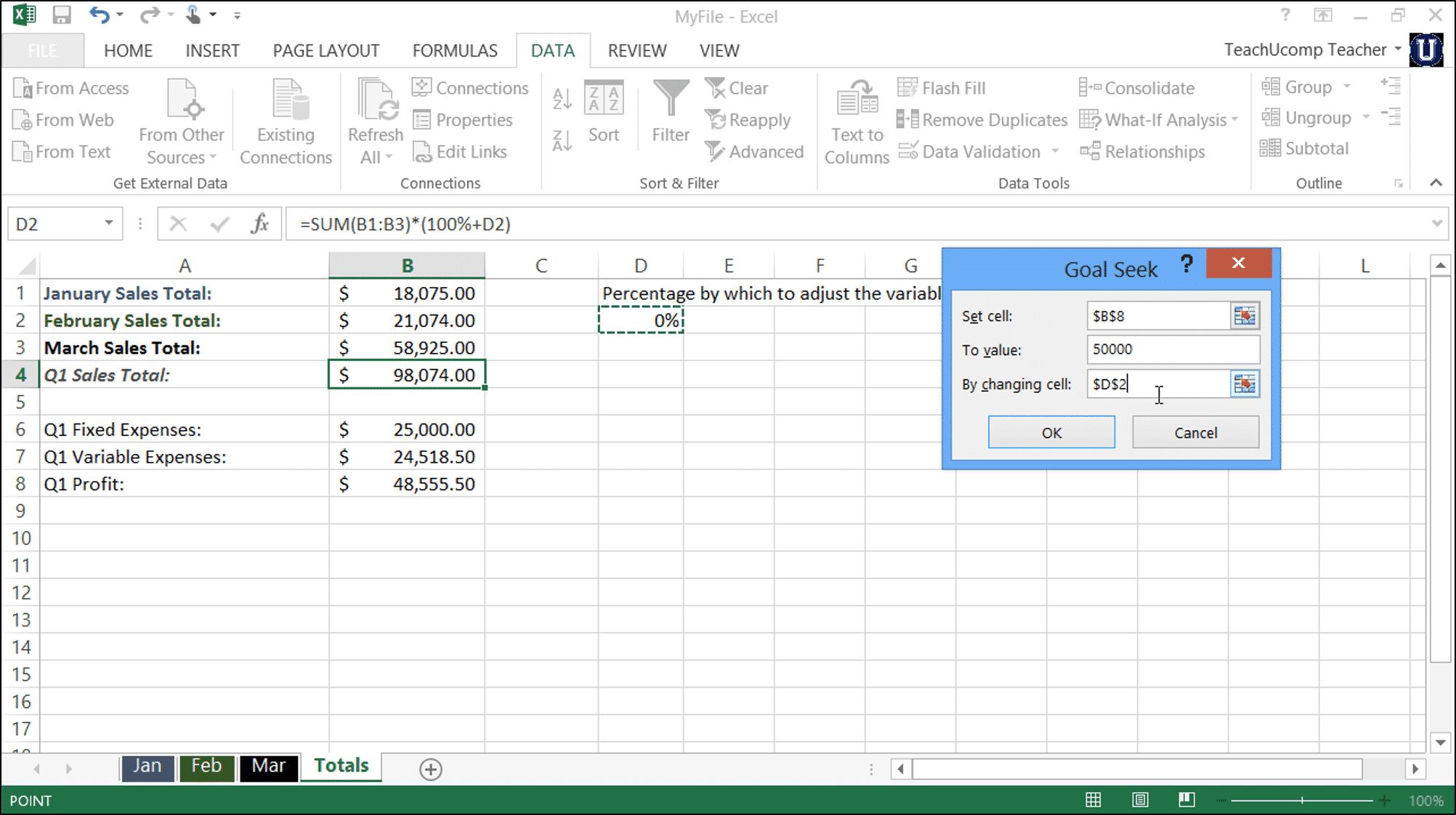 Goal Seek In Excel Tutorial Teachucomp Inc