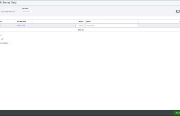 A picture showing how to create a commission or bonus paycheck in QuickBooks Online for selected employees.