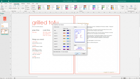 """Custom Color Schemes in Publisher - Instructions: A picture of the """"Create New Color Scheme"""" dialog box in Publisher."""
