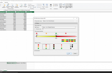 """Create a KPI in Power Pivot for Excel - Instructions: A picture of the """"Key Performance Indicator (KPI)"""" dialog box in Power Pivot for Excel."""