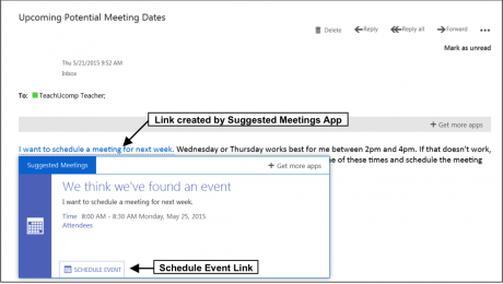 The Suggested Meetings App in Outlook Web App- Tutorial: A picture of a link created by the Suggested Meetings App in Outlook Web App.