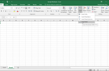 Inserting and Deleting Worksheets in Excel- Tutorial: A picture of a user inserting a new worksheet into an Excel workbook in Excel 2016.