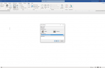 """Record a Macro in Word - Instructions and Video Lesson: A picture of a user naming a new macro in the """"Record Macro"""" dialog box."""