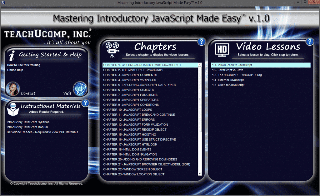"A picture of the JavaScript tutorial interface for ""Mastering Introductory JavaScript Made Easy v.1.0."""