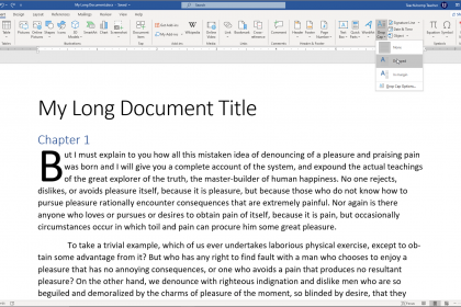 Add a Drop Cap in Word - Instructions: A picture of a user adding a drop cap to a Word document.